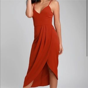 Red Midi Dress NWT